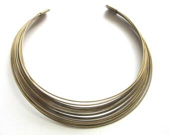 Brass Wire Choker 1970s Multistrand Tribal Boho Primitive Size Small