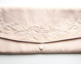 Pink Satin Handkerchief or Stockings Case Jewelry Pouch with Raised Hand Embroidery Mid Century