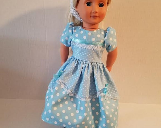 "18"" doll clothes  handmade to Fit like American Girl, Blue polka Dot Dress/Blue Ribbon and Lace Free Shipping"