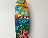 Hand painted Decorated Original Wooden Surfboard, 14 in, wall art, surf art wall deco, Custom made.