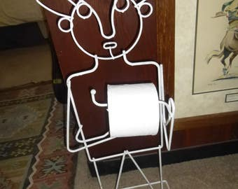 Modern Iron Wire Bathroom Attendant - Toilet Paper Dispenser and Magazine Rack - Charming and whimsical form works for towels too