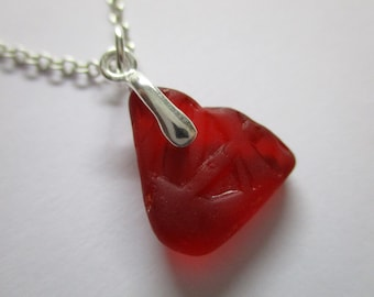 GENUINE SEA GLASS Necklace Sterling Silver Rare Red Texture Real Surf Tumbled Natural Greek Beach Found Seaglass Pendant Jewelry   N 724a