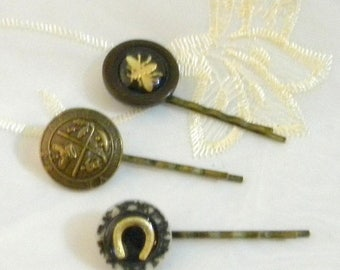Spring Sale Set of Three Vintage Buttons on Brass Bobby Pins, Horseshoe, Bee and Coat of Arms