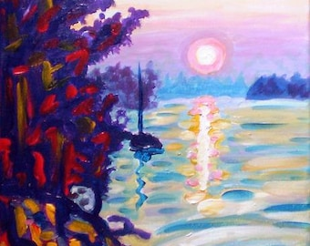 Art Print, Gold Island, Colorful Canadian Lake, Sky and Sunset Art