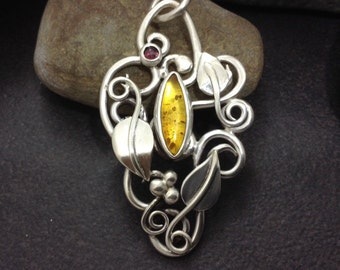 Amber & garnet pendant for necklace with leaves, fiery autumn colors, golden yellow and red, solid sterling silver vines branches tendrils,