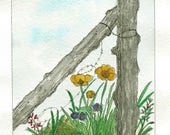 Original Pen and Ink with Watercolor Painting - Weathered Gray Fence Posts with Wildflowers - Original Painting - Not a Print