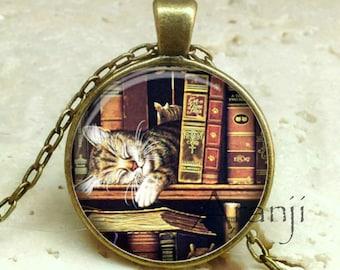 Cat on bookshelf pendant, book necklace, book jewelry, books, library necklace, library pendant, bookshelf necklace, Pendant #HG232BR