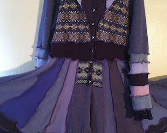 Purple Wool Upcycled Sweater Coat Inspired by Katwise