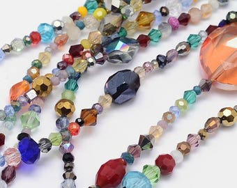 "Full 15"" Strand Multicolor AB Electroplated Faceted Glass Beads"