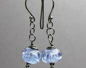 Blue Bead Earrings, Blue Earrings, Blue Bubble Bead Earrings, Blue Glass Earrings, Lampwork Earrings, Kathy Bankston, Glass Jewelry,Earrings