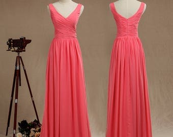 Coral A-line V Neck Straps Bridesmaid Dress,Floor length Chiffon Evening dress with Ruching,V back Ruffle Prom dress