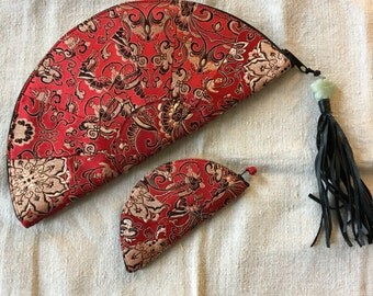 Asian clutch bag red gold brocade jacquard with change purse fan shape  zippered closing fringe carved jadeite