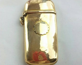 Antique Victorian 14K Solid Yellow Gold  Match Safe Vesta Case Pendant 22gr Fob