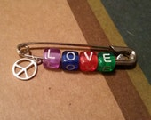Colorful LOVE & PEACE Safety Pin Nation Solidarity Statement
