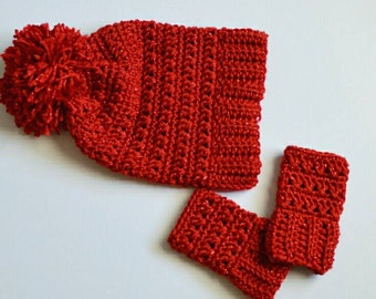 Crochet Red Slouchy Hat and Wristwarmers Baby Beanie Hat Slouch Hat Arm warmers Fingerless Gloves Photo Prop Custom Made Boy Girl