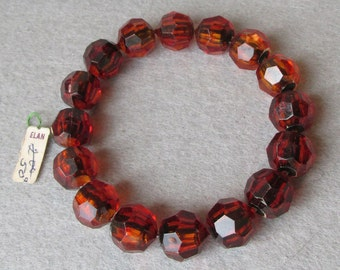 1950's Vintage Tortoise Lucite Faux Crystal POP Bead Bracelet, New With Tag!