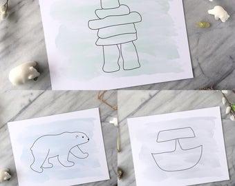 Inuit Art Print Set 3: Polar Bear Inukshuk Ulu, Wall Nursery Home Office Decor Arctic Labrador, 8x10 or 5x7, Gift Aboriginal Wildlife Nature