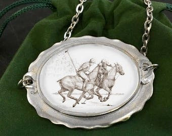 Polo Players necklace, oval pewter frame choker style with artists pen & ink drawing