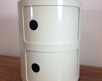 Kartell Italian White Storage Container  Plastic  1960's
