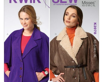 Kwik Sew K3978 Misses' Fux Fur or Fleece Capes Sewing Pattern