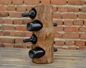 Oversize Wooden Wine Rack 4-bottle, Pupitre Wine Rack, Wine Bottle Holder, Recycled Wood Wine Rack, Men Gift, Wine Storage, Woodwork