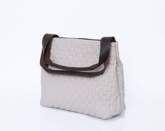 Cream Shoulder Bag with brown Leather straps, Everyday Tote Bag, Oversized Shoulder Bag, Tote Purse With Pockets, Purse, Handbag, TAMI Bag