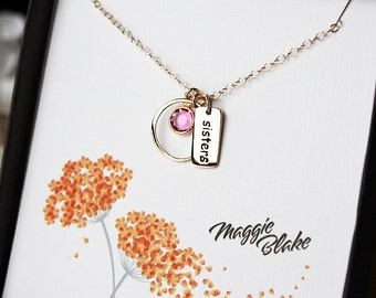 Sister necklace, sister jewelry, necklace for sister, sister gift, sister charm, sister, sister pendant, gold sister necklace, gold sister