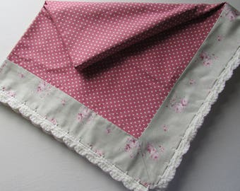 Baby lightweight fabric blanket with crochet edging for those cooler days