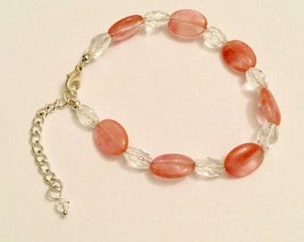 Strawberry pink quartz and Swarovski crystal bracelet