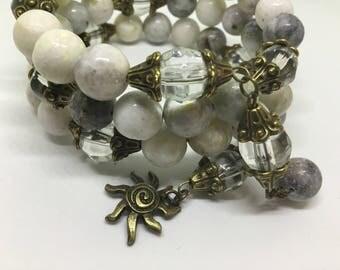 Multi tiered Semi precious stone bracelet .