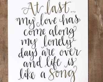 Original Art - hand lettered quote - At Last
