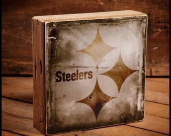 Pittsburgh Steelers Logo Reclaimed Wood Block