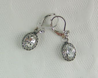 Crystal Earrings, Oval Crystal Earrings, Faceted Crystal Earrings, Bezel Set Crystals, Crystal Leverback Earrings,Crown Set Crystal Earrings