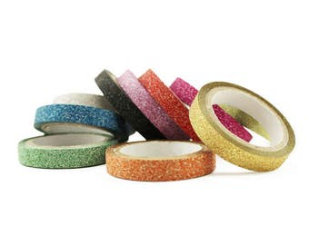 Set of 10 Assorted Colors 6MM Glitter Paper Craft Tape Scrapbooking DIY Skinny Thin Washi Tape Gift Wrapping Stocking Stuffer Rainbow KCO85