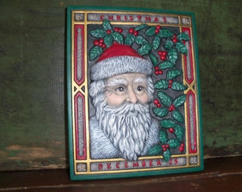 Vintage 1989 Christmas Santa Holiday Wall Art Decor