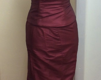Burgundy 2 piece boned fitted corset and full length skirt