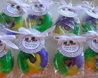 10 King Cake Donut Favors, Party Soap Favors, Fat Tuesday, Mardi Gras Favors, New Orleans, Birthday Parties