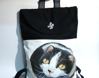 White, black cat, hand made daypack, painted rock photography, animals, wearable art