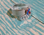 Congenital Heart Defect (CHD) Awareness Adjustable Wrap Ring with Awareness Ribbon Charm - Hand Stamped - EXCLUSIVE CHD Charm