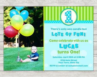 Boy 1st Birthday Invitation - Printable File or Printed Invitations