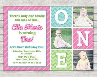 1st Birthday Invitation Girl - Printable File or Printed Invitations