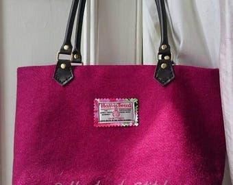 Raspberry pink handmade Harris Tweed bag, with leather handles