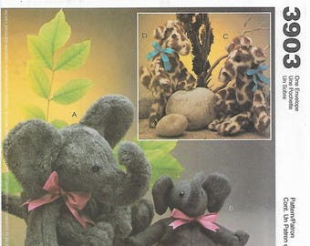 McCall's Crafts 3903 Carol's Zoo Stuffed Elephant and Giraffe, Each in Two Sizes Sewing Pattern 2002 Uncut