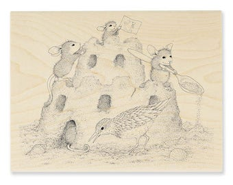 Stampendous House Mouse Castle Construction Wood Mounted Rubber Stamp