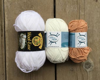 Lion Brand Wool-Ease Yarn - Annie's Hook and Needle Yarn - White and Tan - 3 skeins - Destash - Worsted and DK Weight Yarn - Neutral Yarns