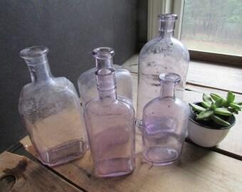 Lavender Glass Bottle Collection Vintage Wedding Decor Bud Vases