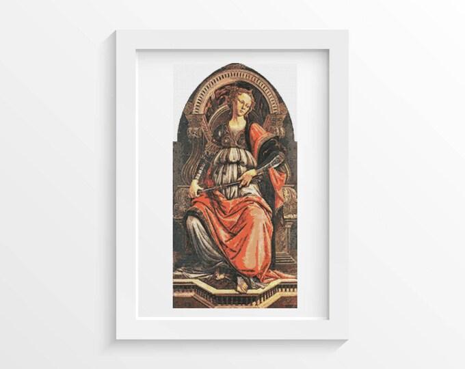 Cross Stitch Pattern PDF, Embroidery Chart, Art Cross Stitch, Fortitude by Sandro Botticelli (BOTTI01)