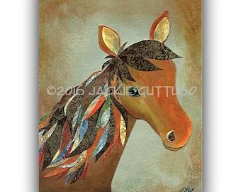 "Horse collage art, Farm nursery art, Archival print 5 x 7"", Farm animal painting print, Southwest art, Farm kitchen decor, Brown horse art"