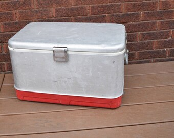 Coleman Cooler Vintage Silver and Red
