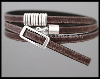"""23"""" Long - Distressed Brown LICORICE Leather Wrap Starfish Bracelet - Adjustable DOUBLE TRIPLE Wrap Spanish Leather Buckle Clasp - 288"""
